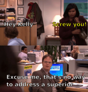 One of the nicest things Dwight has ever said about Jim: Hey Kelly  Şcrew you!  DUNDER  MIFFLIN  FR CCY IO  Excuse me, that's no way-  to address a superior One of the nicest things Dwight has ever said about Jim
