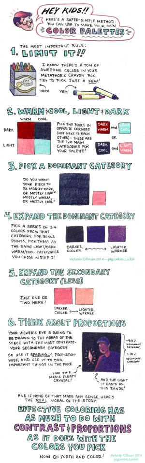 pigeonbits:Color palette tutorial time! This is by no means the Only Way To Pick Colors—it's just a relatively-simple method I use sometimes. I've found it works pretty well, almost regardless of what colors you pick—as long as you can keep them organized by those light/dark warm/cool categories, and make sure one category takes up a significantly higher proportion of page space, it usually turns out pretty good!: HEY KIDS.!!  HERE'S A SUPER- SIMPLE METHOD  You CAN uSE TO MAKE YoUR OWN  COLOR PALETTES  THE MoST IMPORTANT RuLE:  I KNow THERE'S A TON OF  AWESOME COLORS IN YOUR  METAPHORIC CRAYON Box  TRY TO PICK JuST A FEw!  OMG  OCRANS  NOPE  YEP!  NARA:COOL, LIGHT  DARK  WARM COOL  DARK  WARM  PICK TWO BOXES IN  OPPOSITE CORNERS  (NOT NEXT To EACH  OTHER)- THESE ARE  THE TWO MAIN  CATEGORIES FOR  YOuR PALETE!  CoO  DARK  OR  DARK  COOL  LIGHT  WARM  LIGHT  and  3. PIGK A DOMINANT CATEGORY  Do YoU WANT  YouR PIECE TO  BE MOSTLY DARK  OR MOSTLY LIGHT?  MOSTLY WARM  OR MoSTLY COOL?  1 EXPAND THE DOMINANT CATEGORY  PICK A SERIES OF 3-4  COLORS FROM THAT  CATEGORY. FOR BONUS  POINTS, PICK THEM VIA  THE SAME LIGHT/DARK  WARM/cooL CATEGORIES  Y0U CHOSE IN STEP 2!  DARKER,  COOLER  LIGHTER  WARMER  k~︶-->  Melanie Gillman 2014-pigeonbits.tumbl   5.EXPAND THE SECONDARY  GATEGORY (LESS)  JuST ONE OR  TWo HERE!  DARKER,  COOLER  LIGHTER  . THINK ABOUT PROPORTIONS  YOUR VIEWER'S EYE IS GOING TO  BE DRAWNN To THE AREAS OF THE  PIECE WITH THE MOST CONTRAST-  YOuR SECONDARY CATEGORY  So uSE IT SPARINGLY, PROPORTION-  WISE, AND USE IT TO TAG  IMPORTANT THINGS IN THE PIECE  ~90 7.  DOMINANT  CATEGORY  SECONDARY  CATEGORY  LIKE THUS  MAGIC FLOATY  CRYSTAL!  AND THE LIGHT  IT CASTS ON  THIS RANDO.  AND IF NONE OF THAT MADE ANY SENSE, HERE S  THE REAL MORAL OF THE STORY  EFFECTOVE COLORING HAS  AS MUCH TO DO WITH  CONTRAST PROPORTIONS  AS IT DOES WITH THE  COLORS YOU PICK  0  Gillman 2014  NoW GO FORTH AND COLOR! Melanie (Gi  pigeonbits.tumblr pigeonbits:Color palette tutorial time! Th