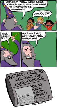 http://smbc-comics.com/index.php?id=3655: HEY KIDS TODAY WERE GONNA  SHRINK DOWN TO THE S12E OF AVIRUS  TO INVESTIGATE THE  HUMAN BODY  KIDS? KIDS? HEY,  KAZAM/  WHY is EVERYgODY  ASPHYXIAMNG?  WIZARD FAILS TO  FOR  TO  SEEK  PENA http://smbc-comics.com/index.php?id=3655
