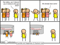 That awkward moment.  Gym Memes: Hey ladies, can I interest  We already have some!  you in tickets to the gun  show?  I II  firearms Convention  inearms Convention  END  GUN BLOG  Cyanide and Happiness IExplosm.net That awkward moment.  Gym Memes