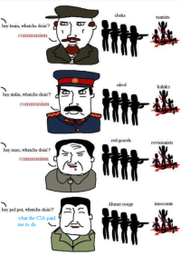 hey lenin, whatcha doin? AZNy  Communism.  hey stalin, whatcha doin'?  Communism  hey mao, whatcha doin'?  communism  hey pol pot, whatcha doin'?  y  what the CIA paid  me to do  L  cheka  nkvd  red guards  khmer rouge  tsarists  kulaks.  revisionists  innocents Another meme appropriated for the motherland