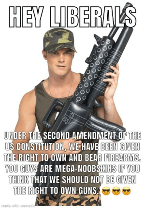 Guns, Bear, and Constitution: HEY LIBER  O o  UNDER THE SECOND AMENDMENT OF THE  US CONSTITUTION WE HAVE BEEN GIVEN  THE RIGHT TO OWN AND BEAR FIREARMS  YOU GUYS ARE MEGA-NOOBSIKINS IF YOU  THINE THAT WE SHOULD NOT BE GIVEN  HE RIGHT TO OWN GUNS  made with mema hey liberals