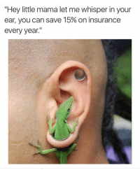 """Blackpeopletwitter, Insurance, and Mama: """"Hey little mama let me whisper in your  ear, you can save 15% on insurance  every year."""" <p>So you saying two earrings could save me 30%… (via /r/BlackPeopleTwitter)</p>"""