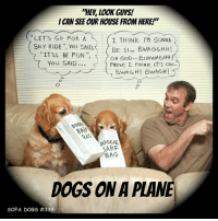 """SOFA DOGS Classics: Episode # 339 DOGS ON A PLANE: """"HEY, LOOK GUYS!  I CAN SEE OUR HOUSE FROM HERE!  LETS GO FOR A  SkY RIDE"""", YOU SAID,〈  I THINK I'M GONNA  BE SI.. BWAGGHH!  OH GOD.. BUHWAGHH!  IT'LL BE FUN"""",  YoU SAID  PHEW!  THINK IT'S ov  0  をAS  00G6IE  ARF  BAG  DOGS ON A PLAM  SOFA DOGS SOFA DOGS Classics: Episode # 339 DOGS ON A PLANE"""