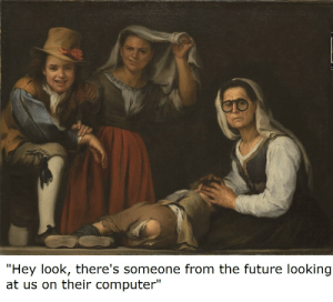 """Meta: """"Hey look, there's someone from the future looking  at us on their computer"""" Meta"""