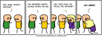 Internet, Cyanide and Happiness, and Dick: HEY MAN. WHAT'S  WRONG?  THE INTERNET KEEPS  GOING DOWN ON ME  HEY NICE DICK! I'M  FROM THE INTERNET  GO AWAY!  Cyanide and Happiness © Explosm.net