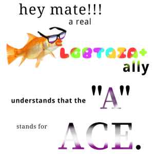 anarchist-bakery: i-am-a-fish:  Also Agender and Aro!  The fish has spoken. Exclusionists will now be evaporated on sight. : hey mate!!!  a real  ally  !AV  understands that the  stands for anarchist-bakery: i-am-a-fish:  Also Agender and Aro!  The fish has spoken. Exclusionists will now be evaporated on sight.