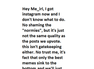 """Me📷irl: Hey Me_irl, I got  instagram now and I  don't know what to do.  No shaming the  """"normies"""", but it's just  not the same quality as  the posts we upvote.  this isn't gatekeeping  either. No trust me, it's  fact that only the best  memes sink to the  hottom and we'll iust. Me📷irl"""