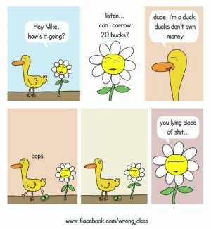 omg-images:[OC] Trust no one: Hey Mike,  how's it going?  listen.  can i borrow  20 bucks?  dude, i'm a duck.  ducks don't own  money  3  you lying piece  of shit..  oops  www.facebook.com/wrong jokes omg-images:[OC] Trust no one