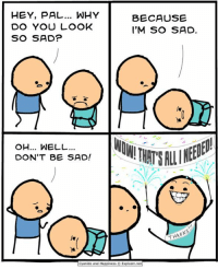 Bad, Bad Day, and Dank: HEY, PAL WHY  DO YOU LOOK  SO SAD?  BECAUSE  I'M SO SAD  OH... WELL...  DON'T BE SAD!  THANK  Cyanide and Happiness © Explosm.net By Kris Wilson. Having a bad day? Cheer the hell up and go read more comics at www.explosm.net!