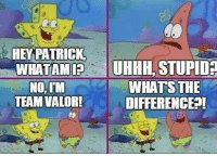 Accurate: HEY PATRICK  WHAT AM  UHHH, STUPID  WHATS THE  NO,IM  TEAM VALOR!  DIFFERENCE Accurate