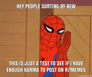 Dank, Memes, and Target: HEY PEOPLE SORTING BY NEW  THIS IS JUST A TEST TO SEE IFI HAVE  ENOUGH KARMA TO POST ON R/MEMES  mematic.net If you are seeing this, then FINALLY by Cool_575 MORE MEMES