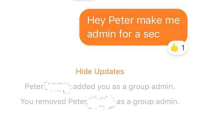 Tumblr, Blog, and Julius Caesar: Hey Peter make me  admin for a sec  1  Hide Updates  Peter  added you as a group admin.  You removed Peter.  as a group admin fakehistory:Roman Emperor Julius Caesar is overthrown (44BC)