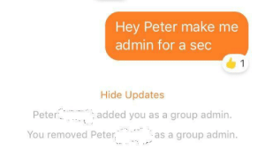 fakehistory: Roman Emperor Julius Caesar is overthrown (44BC): Hey Peter make me  admin for a sec  1  Hide Updates  Peter  added you as a group admin.  You removed Peter.  as a group admin fakehistory: Roman Emperor Julius Caesar is overthrown (44BC)