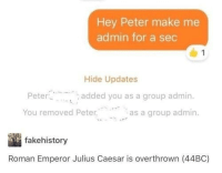 "Julius Caesar, Roman, and Sec: Hey Peter make me  admin for a sec  Hide Updates  Peter  added you as a group admin.  as a group admin.  , ""  You removed Peter  -a  fakehistory  Roman Emperor Julius Caesar is overthrown (44BC)"
