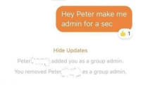 Julius Caesar, Sec, and Group: Hey Peter make me  admin for a sec  Hide Updates  Peter  You removed Peter  added you as a group admin.  as a group admin. Julius Caesar is overthrown by Brutus and 24 Others [44 BC]