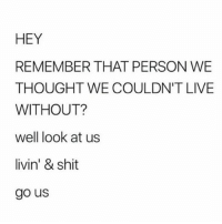Memes, Shit, and Live: HEY  REMEMBER THAT PERSON WE  THOUGHT WE COULDN'T LIVE  WITHOUT?  well look at us  livin' & shit  go us living better than ever 💀
