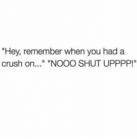 "Crush, Funny, and Memes: ""Hey, remember when you had a  crush on.. ""NOOO SHUT UPPPP!"" Please don't bring that up... (@funny)"