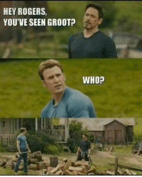 Snap, Who, and Rogers: HEY ROGERS,  YOU'VE SEEN GROOT?  WHO? No need for the snap
