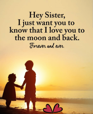 Love, Memes, and I Love You: Hey Sister,  I just want you to  know that I love you to  the moon and back.  Forever and ever Daily Inspiration