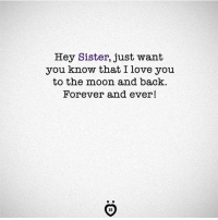 Love, I Love You, and Forever: Hey Sister, just want  you know that I love you  to the moon and back.  Forever and ever!  IR