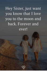 Love, Memes, and I Love You: Hey Sister, just want  you know that I love  you to the moon and  back. Forever and  ever!