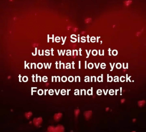 Love, Memes, and I Love You: Hey Sister,  Just want you to  know that I love you  to the moon and back.  Forever and ever! Daily Inspiration