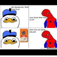 Credit: @that_soopy_potato FOLLOW THEM: Hey Spooderman, Want  Some Rice?  Sure, Dolan! What Kind  Is It?  WHY YOU SO CRUEL  DOLAN!  Bens  Memetenler  memecenter.com Credit: @that_soopy_potato FOLLOW THEM