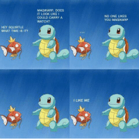 HEY SQUIRTLE  WHAT TIME IS IT?  MAGIKARP, DOES  IT LOOK LIKE  COULD CARRY A  WATCH?  LIKE ME  NO ONE LIKES  YOU MAGIKARP ~Raichu