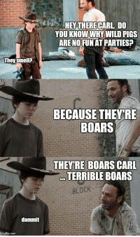 Goes Ham: HEY THERE CARL DO  YOU KNOWWHY WILD PIGS  ARE NO FUNAT PARTIES  They smell?  BECAUSE THEY RE  BOARS  THEYRE BOARS CARL  TERRIBLE BOARS  BLOCK  dammit  imgflip.com
