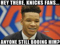 Basketball, New York Knicks, and Nba: HEY THERE, KNICKS FANS  @NBAMEMES  ANYONE STILL BOOING HIM? Booing without giving anyone a chance 😂 nbamemes nba knicks