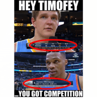 😂😭: HEY TIMOFEY  ESS  BLK  FG  TIMOFEY  PTS  REB  25  MOZGO  93 0/15 29  OFER-HIGH REBOUNDS (MOST BY ANY PLAYER THIS SEASON1  OKLAHOMA  @NBAMEMES  TONIGHT  RUSSELL WESTBROOK  136 PTS 112 REBS 118 ASTS  o 6TH TRIPLE DOUBLE THIS SEASON (43RD OF CAREER)  YOU GOT COMPETITION 😂😭