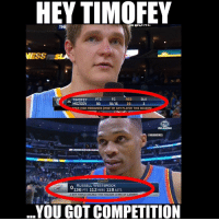 nba nbamemes westbrook timoffey: HEY TIMOFEY  VESS S  BLK  FG  TIMOFEY  PTS  25  MOZGOV  REB  93 10/15 29 3  DEER HIGH REBOUNDS (MOST BY ANY PLAYER THIS SEASON1  OKLAHOMA  GONBAMEMES  TONIGHT  RUSSELL WESTBROOK  136 PTS 112 REBS 118 ASTS  o 6TH TRIPLE DOUBLE THIS SEASON (43RD OF CAREER  YOU GOT COMPETITION nba nbamemes westbrook timoffey
