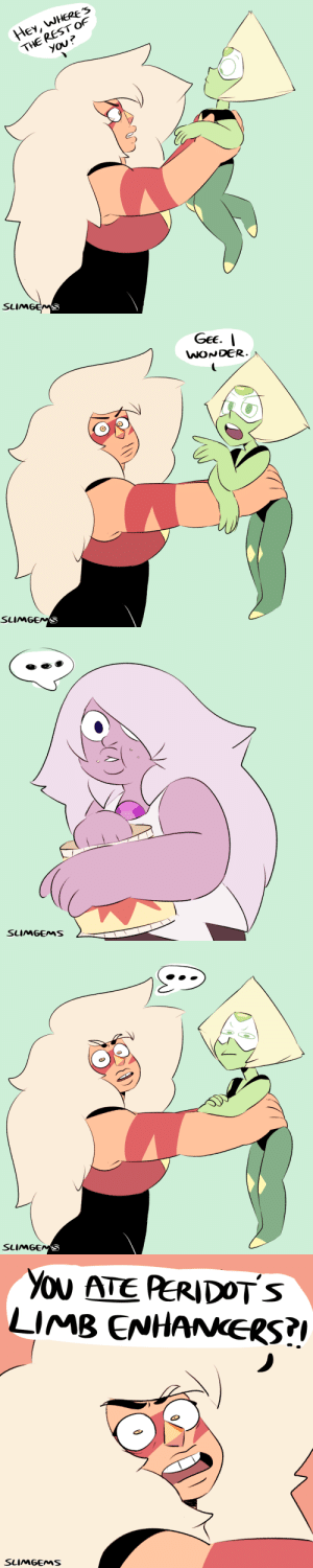 slimgems:  here u go :'): HeY, WHERE'S  THE REST OF  You?  SLIMGEMS   GeE.  WONDER  SLIMGEMS   SLIMGEMS   SLIMGENS   You ATE PERIDOTS  LIMB ENHANERS?  SLIMGEMS slimgems:  here u go :')