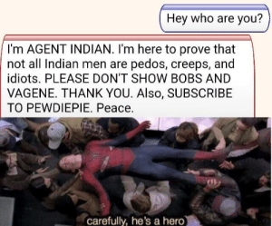 Dank, Memes, and Target: Hey who are you?  I'm AGENT INDIAN. I'm here to prove that  not all Indian men are pedos, creeps, and  idiots. PLEASE DON'T SHOW BOBS AND  VAGENE. THANK YOU. Also, SUBSCRIBE  TO PEWDIEPIE. Peace.  carefully, he's a hero A true hero by lBijanl MORE MEMES
