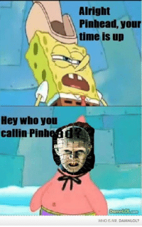 Hey Who you  callin Pinh  Alright  Pinhead, your  time is up  DamnLOL  COm  WHO IS MR. DAMNLOL? O.C. because no one bothered to do this yet.