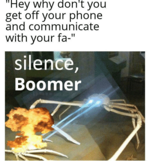 """Merry christmas: 'Hey why don't you  get off your phone  and communicate  with your fa-""""  silence,  Boomer Merry christmas"""