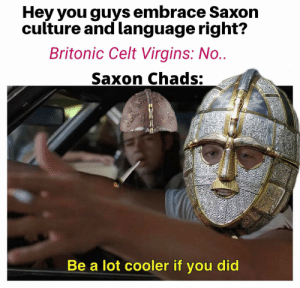 The labour of love that the Anglos had for Britain must never be forgot.: Hey you guys embrace Saxon  culture and language right?  Britonic Celt Virgins: No..  Saxon Chads:  Be a lot cooler if you did The labour of love that the Anglos had for Britain must never be forgot.