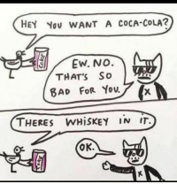 Coca-Cola, Fitness, and Whiskey: HEY You WANT A CoCA-COLA?  (t  THAT'S So  THERES WHiSKEY IN IT.  OK. Lotsa people in the fitness industry like this    😂😂😂