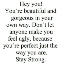 Hey you!  You're beautiful and  gorgeous in your  own way. Don't let  anyone make you  feel ugly, because  you're perfect just the  Way you are  Stay Strong
