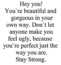 your beautiful: Hey you!  You're beautiful and  gorgeous in your  own way. Don't let  anyone make you  feel ugly, because  you're perfect just the  Way you are.  Stay Strong