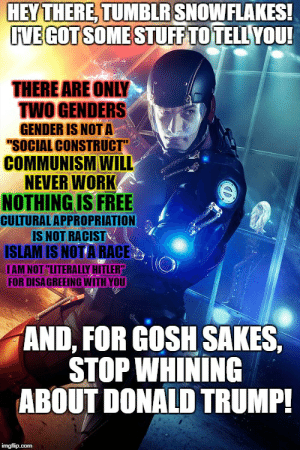 """This counts, right?: HEYTHERE, TUMBLR SNOWFLAKES!  IVE GOT SOMESTUFF TO TELL YOU!  THERE ARE ONLY  TWO GENDERS  GENDER IS NOT A  """"SOCIAL CONSTRUCT""""  COMMUNISM WILL  NEVER WORK  NOTHING IS FREE  CULTURAL APPROPRIATION  IS NOT RACIST  ISLAM IS NOT A RACE  IAM NOT """"LITERALLY HITLER""""  FOR DISAGREEING WITH YOU  AND, FOR GOSH SAKES,  STOP WHINING  ABOUT DONALD TRUMP!  imgflip.com  D This counts, right?"""