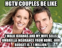 Hgtv: HGTV COUPLES BE LIKE  1WALK İGUANAS AND MYWIFESELLS  UMBRELLA INSURANCE FROM HOME. OUR  BUDGET IS 2:1 MILLION.