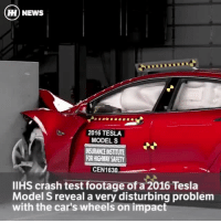 "Cars, Memes, and Traffic: HH NEWS  2016 TESLA  MODELS  INSURANCEINSTITUTE  RORHIGHWAY SAFETY  CEN 163  llHS crash test footage ofa 2016 Tesla  Model S reveal a very disturbing problem  with the car's wheels on impact Via @carthrottlenews - On small frontal impact, the wheel cracks and dramatically shatters, further reducing crash structure integrity and launching projectiles into the surrounding area. (The wheel does not crack in the greater, load bearing moderate frontal impact test). We reached out to Tesla and were given this statement (not directly related to the problem wheel, but hopefully something it will look into with immediate effect): - ""We are committed to making the world's safest cars, and Model S has previously received a 5-star safety rating from the National Highway Traffic Safety Administration and a 5-star rating from Euro NCAP. Model S still has the lowest ever probability of injury of any car ever tested by NHTSA. - We proactively develop updates and aggressively implement changes onto the production line in record time any time there is a substantial benefit to customer safety. One of the improvements recently introduced in January 2017 specifically addresses the ""Acceptable"" (or second highest) rating that the Model S achieved in the small overlap frontal crash test, and we expect new tests to yield the highest possible rating (""Good"" rating) in the crashworthiness category. - Additionally, IIHS tested a vehicle that was in transition with new Autopilot hardware, but without the new software that enables Automatic Emergency Braking. In the coming weeks, Automatic Emergency Braking will be deployed via a free over-the-air software update, and IIHS will be testing a new vehicle. We expect to receive the highest possible rating in every category, making Model S eligible for the IIHS Top Safety Pick award."" The combustible wheel doesn't only concern me in extreme crash tests like this, because I now question what could happen at 100mph on the Autobahn if a pothole were to be struck or a stray object (like a rock or a piece of car) were to be run over…"
