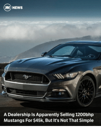 """Dodge Challenger, Memes, and Dodge: HH NEWS  A Dealership Is Apparently Selling 1200bhp  Mustangs For $45k, But It's Not That Simple Via @carthrottlenews - When we learned that an Ohio Ford dealership is offering 1200bhp Ford Mustangs for $44,449, we weren't at all surprised to find out the particular establishment. - It is of course Lebanon Ford, a dealer which hit the headlines last year for selling 717bhp Mustang GTs for the low, low price of $39,995. So how - you might ask - can they offer a brand new 'Stang with 500bhp more than that, for just a $5000 increase? Well, they can't - not quite. - While it's impressive Lebanon can sell you a brand new Mustang with a fully fitted LFP Hellion twin-turbo kit, upgraded injectors and a cat-back exhaust for that price, the magic 1200 figure is only possible """"with supporting mods"""". - Even the 'Package 2' version of the kit - which adds upgraded halfshafts and even fancier injectors among other things - isn't going to be enough for a hypercar baiting power figure. Still, it'll provide one hell of a starting point for quarter-mile glory, and for not much money, even if you'll need to spend a fair bit more to get it over 1000bhp. - So, we want to ask you: this plus some extra mods, or that incoming Dodge Challenger SRT Demon? - Via The Drive"""