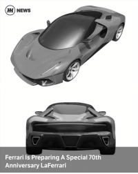 Via @carthrottlenews - It seems like the LaFerrari is about to don a posh suit for Ferrari's 70th birthday. The company is redesigning the bodywork for a fanfare LaFerrari special edition, according to patents filed last year. - Let's get the formalities out of the way first: no, you can't have one and you may never even see one on the road. - Monochrome patent images filed by Ferrari last year show a LaFerrari body with unusually thin headlights guaranteed to be made up of LEDs. There's a more futuristic rear end, too; almost EV-like in its aerodynamic intent. According to Autocar, the name on the patent application is Flavio Manzoni, the man who designed the LaFerrari and 488. - It could be a one-off project to be kept under lock and key forever, apart from occasional outings to motor shows and brand-massage events. Or, on the other hand, it might be a project for a specific customer, like the recent SP275 RW Competizione. - We can only speculate on power, but it's likely to keep the same 950bhp hybrid setup as the regular LaFerrari. I guess we can't be too disappointed with that. - If looking at the monochrome images is spoiling your day, we've also seen some colour-rendered versions on CarScoops.: HH NEWS  Ferrari is Preparing A Special 70th  Anniversary LaFerrari Via @carthrottlenews - It seems like the LaFerrari is about to don a posh suit for Ferrari's 70th birthday. The company is redesigning the bodywork for a fanfare LaFerrari special edition, according to patents filed last year. - Let's get the formalities out of the way first: no, you can't have one and you may never even see one on the road. - Monochrome patent images filed by Ferrari last year show a LaFerrari body with unusually thin headlights guaranteed to be made up of LEDs. There's a more futuristic rear end, too; almost EV-like in its aerodynamic intent. According to Autocar, the name on the patent application is Flavio Manzoni, the man who designed the LaFerrari and 488. - It could be a one-off