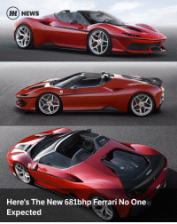 """80s, Ferrari, and Memes: HH NEWS  Here's The New 681bhp Ferrari No One  Expected Via @carthrottlenews - One thing no one, anywhere has said about the Ferrari 488 is that it needs more power, but to hell with that: they've gone and delivered it anyway. - This is the limited-edition Ferrari J50, a completely unexpected targa based on the 488 but with the 3.9-litre V8's wick turned up to 681bhp – 20bhp more than the standard car. - Just 10 are being built to celebrate 50 years of the Italian brand's presence in Japan, and no you can't have one because you can bet they're already sold, with each being tailored to the customer that bought it. How much? If you have to ask… - There are plenty of press release references to the 1950s, '60s, '70s and '80s. Serious bodywork mods include the """"helmet visor""""-style glass area, a bonnet that's lower than standard at the centre and a black 'dividing line' that circles the new front bumper below knee height. All this, says Ferrari, turns it into a heritage-friendly barchetta. - The LED headlights are new, as are the wheels and interior trim. To accommodate the heavily revised front end the radiators have been moved closer together and the windscreen header rail has been lowered for better air flow up from the lower nose. - As for keeping the rain out, obviously if you've bought one you're rich and live somewhere where it doesn't rain. That or you have much garage space. But just in case, there's a two-piece carbon-fibre hard top that stows, ahem, """"conveniently behind the seats."""" - Built by Ferrari's Special Projects department and designed by the in-house Maranello team, this is likely to be a Ferrari collector's wet dream from day one. We can't wait to see the final sale value the first time one goes to auction."""