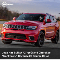 Via @carthrottlenews - FCA has stuffed the 6.2-litre supercharged V8 from the Dodge Challenger Hellcat into the Grand Cherokee.: HH NEWS  Jeep Has Built A 707hp Grand Cherokee  Trackhawk', Because Of Course It Has Via @carthrottlenews - FCA has stuffed the 6.2-litre supercharged V8 from the Dodge Challenger Hellcat into the Grand Cherokee.