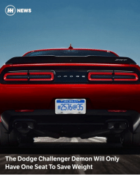 Via @carthrottlenews - Remember that 90kg+ SRT Demon weight loss Dodge has been on about? Now we know exactly what kind of diet the incoming Challenger king is on: it's been stripped of all its passenger seats. - Yep, according to Motor Trend and numerous other outlets it's a single-seater as standard, which accounts for a large chunk of the weight reduction. - Dropping the front passenger seat, rear bench and all the associated belts accounts for a substantial 51kg loss, but it looks as though you'll be able to option them should you fancy terrifying a passenger or two. - The remaining weight is shed thanks to lighter 18 x 11-inch rims, fewer speakers, a load of missing carpet and sound insulation, lighter anti-roll bars, lighter brakes and a 'deleted' spare wheel. Oh, and a little weight has been shaved off by ditching the electrically adjusted steering column and the parking sensors. Thorough, no? - The total loss is 105kg, but when you factor in the Challenger's hilariously fat 315-section front and rear drag radials plus flared wheel arches, the reduction stands at 97kg. - The car is expected to be revealed at the New York Auto Show this April.: HH NEWS  MICHIGAN  #2516@35  The Dodge Challenger Demon Will Only  Have One Seat To Save Weight Via @carthrottlenews - Remember that 90kg+ SRT Demon weight loss Dodge has been on about? Now we know exactly what kind of diet the incoming Challenger king is on: it's been stripped of all its passenger seats. - Yep, according to Motor Trend and numerous other outlets it's a single-seater as standard, which accounts for a large chunk of the weight reduction. - Dropping the front passenger seat, rear bench and all the associated belts accounts for a substantial 51kg loss, but it looks as though you'll be able to option them should you fancy terrifying a passenger or two. - The remaining weight is shed thanks to lighter 18 x 11-inch rims, fewer speakers, a load of missing carpet and sound insulation, lighter anti-roll bars, lighter brakes and a 'deleted' spare wheel. Oh, and a little weight has been shaved off by ditching the electrically adjusted steering column and the parking sensors. Thorough, no? - The total loss is 105kg, but when you factor in the Challenger's hilariously fat 315-section front and rear drag radials plus flared wheel arches, the reduction stands at 97kg. - The car is expected to be revealed at the New York Auto Show this April.