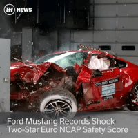 "Memes, Euro, and Curtains: HH NEWS  MUSTANG  2016 FORD CENf612  Ford Mustang Records Shock  Two-Star Euro NCAP Safety Score Via @carthrottlenews - The Ford Mustang has been given a totally unexpected two-star safety rating by Euro NCAP. It's the first car from a major manufacturer to score so low for almost a decade, and it's not ideal for something that's not that likely to make it to the end of its life without being crashed at least once. - The punishing Euro NCAP tests showed up major issues with airbags not protecting occupants properly, rear passengers slipping beneath seat belts and a lack of active safety technology like autonomous braking systems. - For comparison, the Dacia Sandero scored four of out five stars. In 2013. - In the frontal offset impact test, neither of the front airbags inflated enough to fully protect the occupants, and in the side impact test the '10-year-old' dummy's head actually squashed right through the under-inflated curtain airbag and hit the door trim. - Thatcham Research's Director of Research, Matthew Avery, even went as far as to say that the test result ""makes it unsuitable for carrying rear passengers."" - ""On top this, it does not have basic life-saving technology like Autonomous Emergency Braking (AEB) that is available even on the Ford Fiesta, and the recently launched Ford Edge,"" he said. - Ford has countered with assertions that the facelifted model, to be released in Europe later this year, will score higher. The newer model will have pre-collision assist and lane-keeping assist as standard. - If you already own one, though, you might want to avoid driving into anything solid."